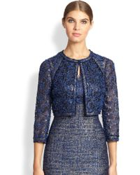 Kay Unger Cropped Lace Tweed Jacket - Lyst