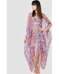 Rodebjer - Agave Chiffon Kaftan Dress Blue & Red - Lyst