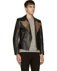 Alexander McQueen Black Leather Gold Zipper Lapel Biker Jacket - Lyst