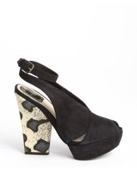 Dior Black and Ivory Suede Rock Studded Singleback Platform Pumps - Lyst