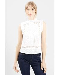 Topshop 'Victoriana' Embroidered Shell Top - Lyst