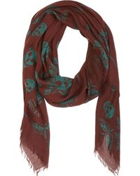 Alexander McQueen Burgundy and Green Moth Printed Scarf - Lyst