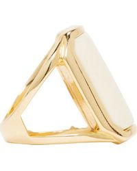 Balmain White Inset Bone Ring - Metallic