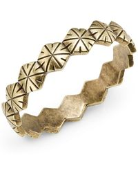 Giles & Brother Textured Hexagon Bangle Bracelet - Lyst