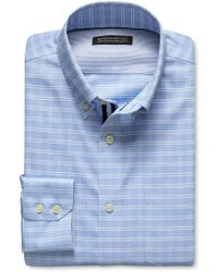 Banana Republic Tailored Slim-Fit Non-Iron Blue Plaid Shirt - Lyst