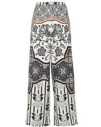 Topshop Tile Print Wide Leg Trousers - Lyst