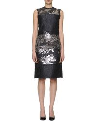Bottega Veneta Sleeveless Metallic-laminated Floral Cloque Dress - Lyst