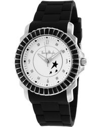 Thierry Mugler Womens Black Rubber Black Crystal Encrusted Bezel White Dial - Lyst