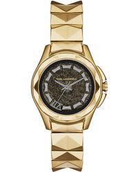 Karl Lagerfeld Unisex Karl 7 Gold-Tone Stainless Steel Bracelet Watch - Lyst