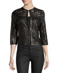 Grayse Leathermesh 34-sleeve Jacket - Lyst