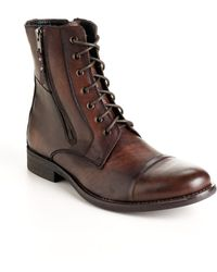 Kenneth Cole Reaction Hit Men Leather Boots - Brown