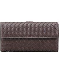 Bottega Veneta Woven Continental Flap-tab Wallet - Lyst