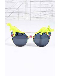Urban Outfitters - Spangled Disco Dino Sunglasses In Neon - Lyst