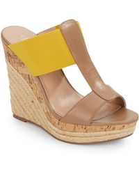Charles by Charles David Alto Leather & Elastic Espadrille Wedge Sandals yellow - Lyst