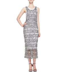 McQ by Alexander McQueen Open-stitch Sheer Fitted Tank Dress - Lyst