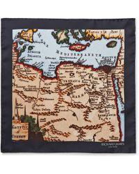 Richard James Printed Silk Pocket Square - Lyst