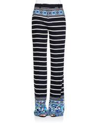 Emilio Pucci Striped Silk Wide-Leg Pants - Lyst