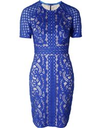 Lover Poppy Fitted Dress Royal blue - Lyst