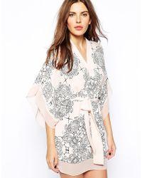 BCBGMAXAZRIA  Caftan Dress in Floral Print - Lyst