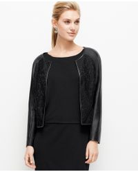 Ann Taylor Faux Leather and Lace Jacket - Lyst