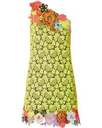 Christopher Kane One-Shoulder Floral Lace Dress - Lyst