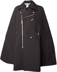 Comme Des Garçons Quilted Zipped Biker Cape Jacket Black - Lyst
