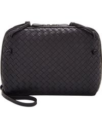 Bottega Veneta Small Intrecciato Messenger blue - Lyst
