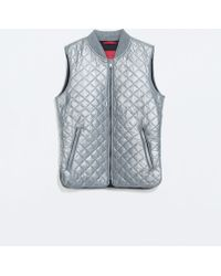 Zara Quilted Waistcoat - Lyst