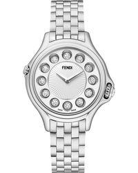 Fendi Crazy Carats Diamond, Multicolor Topaz & Stainless Steel Small Bracelet Watch/White silver - Lyst