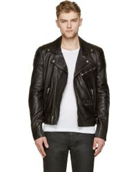 BLK DNM Black Leather Quilted Biker Jacket - Lyst