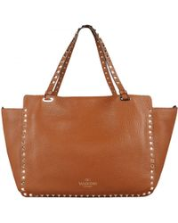 "Valentino Brown Leather Medium ""Rockstud"" Bag - Lyst"