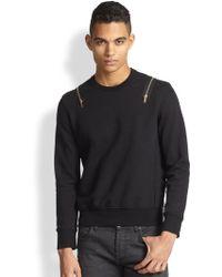 Alexander McQueen Cotton Blend Zip Sweatshirt - Lyst