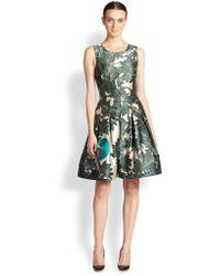 Oscar de la Renta Parrot Embroidered A-line Dress - Lyst