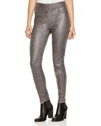 Jen7 - Nappa Faux Leather Skinny Trousers In Dark Grey - Lyst