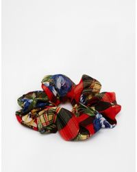Asos Floral Plaid Scrunchie - Lyst