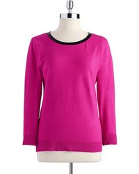 Anne Klein Long Sleeved Sweater with Faux Leather Detail - Lyst
