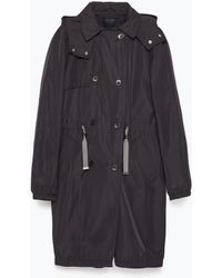 Zara Quilted Gathered Trenchcoat blue - Lyst