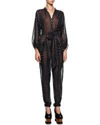 Stella McCartney Gold Dotted Tie-front Tapered Jumpsuit - Lyst
