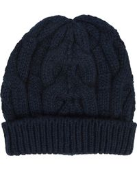 Barneys New York Blue Cable-knit Beanie - Lyst