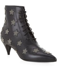 Saint Laurent Cat 50 Studded Leather Lace-Up Bootie - Lyst