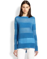 Vince Fine-Knit And Ribbed-Knit Striped Sweater - Lyst