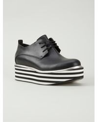 Costume National Striped Platform Lace-Up Shoes - Lyst
