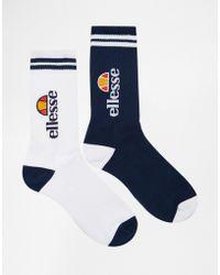 Ellesse 2 Pack Crew Socks - Blue