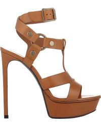 Saint Laurent Harness-Strap Bianca Platform Sandals - Lyst