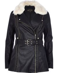River Island Black Shearling Leather-look Biker Jacket - Lyst