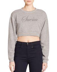 True Religion Joan Smalls X Cropped 'SueñA' Printed Sweatshirt gray - Lyst