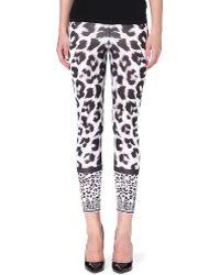 Versus  Leopardprint Leggings Whiteblack - Lyst
