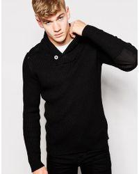 Firetrap - Shawl Collar Rib Sweater - Lyst