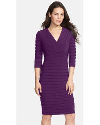 Adrianna Papell Pleated Jersey Sheath Dress - Lyst
