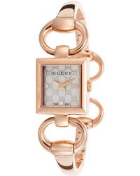 Gucci Tornabuoni Rose-tone Steel White Mop Dial - Lyst